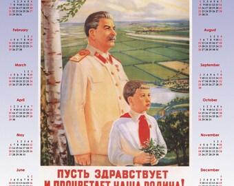 1949 Stalin Soviet propaganda Stalinism poster + Calendar 2018