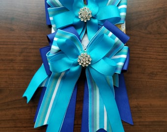Blue and Turquoise Stripe Equestrian Show Bows (Grand Champion Size)