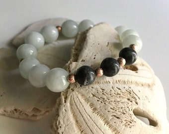 Icy Mint Jade and Larvikite Gemstone Bracelet, Rose Gold Spacer Beads from Greece