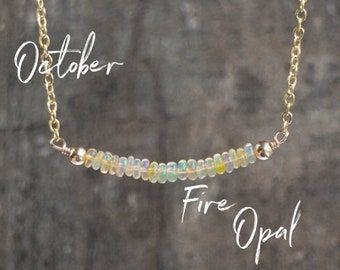 Fire Opal Necklace, Wife Gift for Her, Bar Necklace, Gift for Girlfriend, Gemstone Necklace, Ethiopian Welo Opal Jewelry, October Birthstone