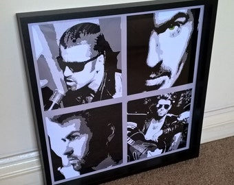 4 pieces of George Michael artwork in a 16x16 inch frame