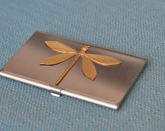 silver tone business card case with brass dragonfly - business cards, credit cards, wallet