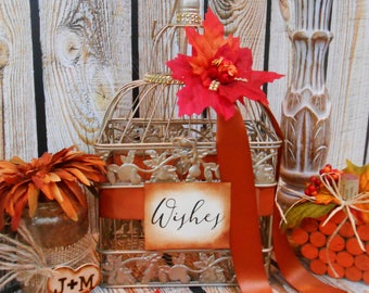 Fall Wedding Wishes Birdcage | Fall Leaves Wedding Decor | Birdcage Card Holder | Wedding Birdcage | Birdcage Card Box