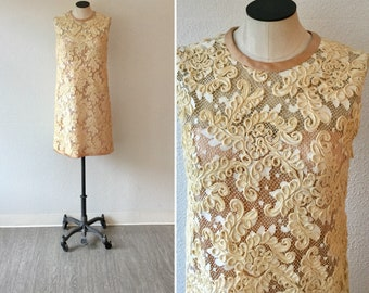 Bridgette 60s dress  Vintage cream Soutache shift dress  1960's I Magnin sleeveless lace wedding dress