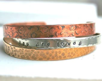 Mother's Day Gift, Personalized Cuff Bracelet, Love Bracelet, Custom Your Message Cuff Bracelet, Silver Bracelet, Gold Bracelet, Copper Cuff