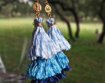 Saint Mary, Tiered Silk Tassel Earrings in Baby Blue, Turquoise and Navy, Antique Gold Catholic Medals, Saint Mary and Jesus Antiques