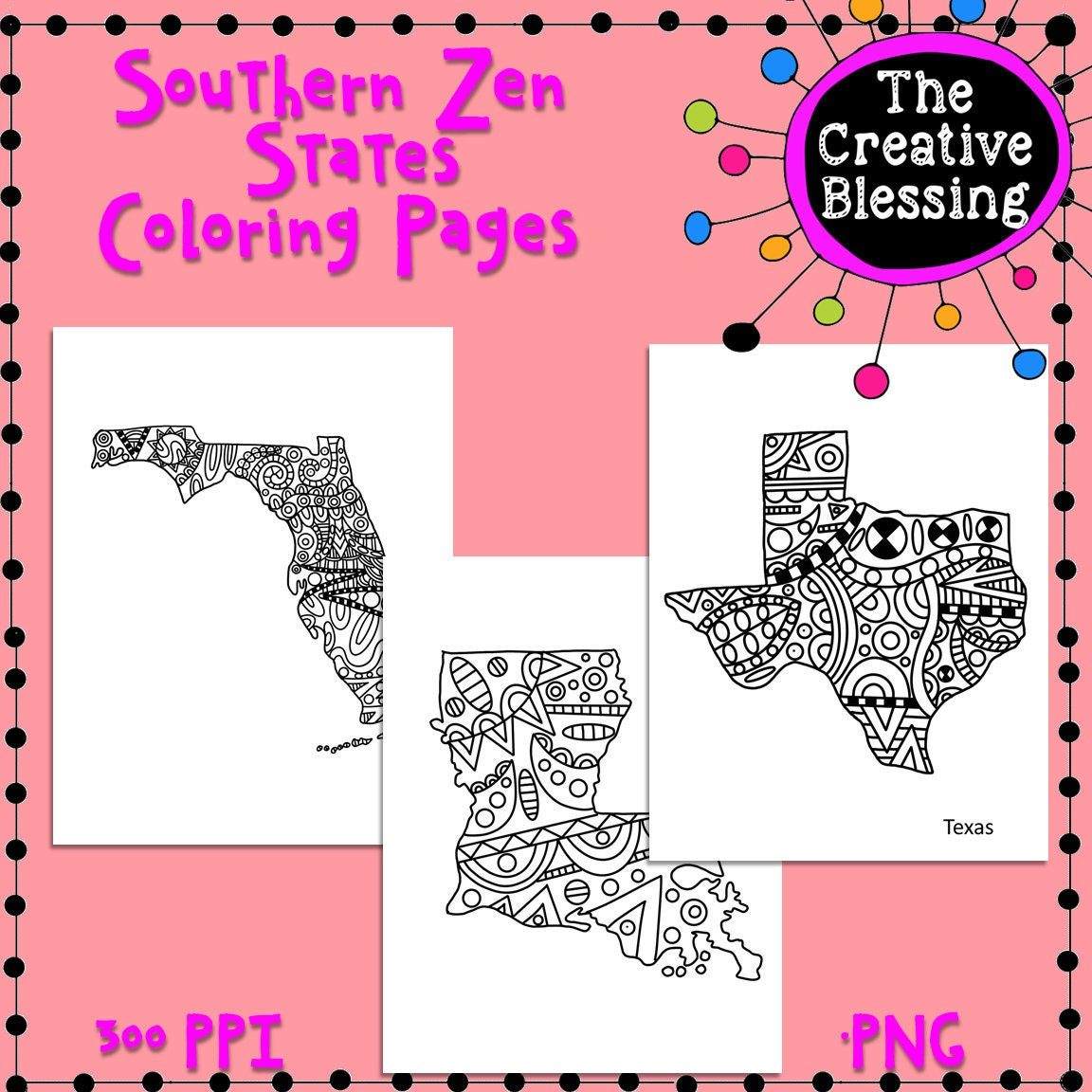 Southern Zentangle Doodle States Coloring Pages
