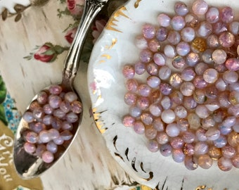 20 Vintage Harlequin stones, Glass silver Opal stones, 5mm harlequin, pink opal Stones, Shabby chic, SS18, stones, Pink Stones, #B154