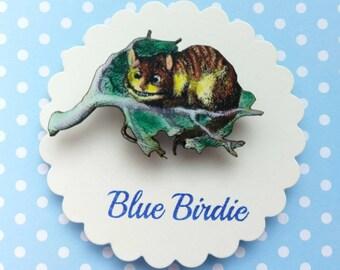 Cheshire cat brooch Alice in wonderland brooch Cheshire cat jewelry Alice in wonderland jewelry Cheshire cat jewellery Alice gifts