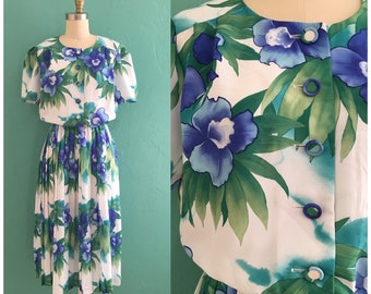vintage 80's blue floral dress // blue flower print dress