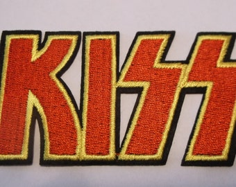 "KISS~PATCH~Rock & Roll~3 9/16"" x 1 7/8"" Embroidered Appliqued~Iron Sew on~Free US Mail~International Mail Available"
