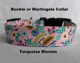 Turquoise Blooms on Pink-Adjustable Buckle-Martingale Dog Collar-Small-Large Breed Dog-1 inch 1.5 -2 inch width-Traffic-Dog Leash