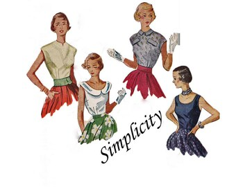 """Vintage Sewing Pattern """"Simple to Make"""" 1950's sleeveless blouse sewing pattern - Size 15 - Bust 33 - Simplicity 3263"""