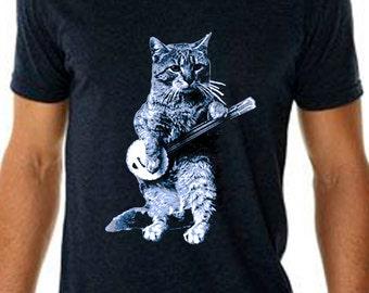 banjo tshirt - cat tshirt - mens tshirt - cat shirt - banjo shirt - cat gifts - cat lover gift - cat lover - music gift - BANJO CAT - v-neck