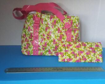 MATCHING SET Pink Flamingo Duct Tape Purse & Wallet