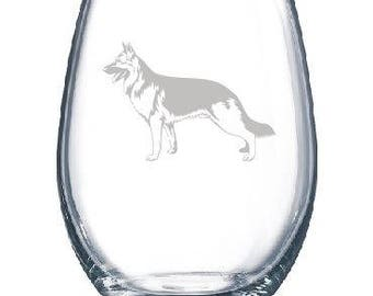 Personalized German Shepherd Dog Lover Owner Wine Glass - Stemmed or Stemless