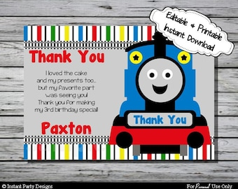 Train Thank You Card Birthday Party - Editable Printable Digital File with Instant Download