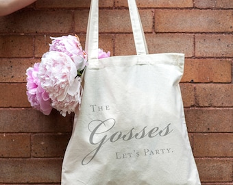 Let's party wedding tote, wedding canvas bag, bridal party tote bag, wedding tote, hotel welcome bag, last name tote bag - 40 bags