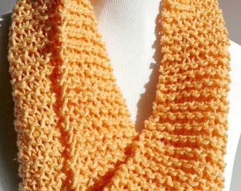 Peach Handknit Scarf Summer Scarf Peach Hand Knit Circle Scarf Peach Orange Pastel Loop Scarf Infinity Scarf Gift for Her Fearless Ferris