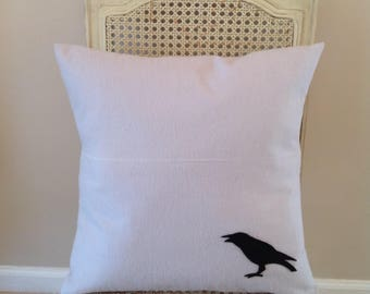 Gray Pillow Cover with crow