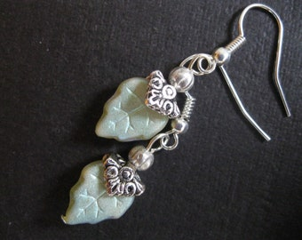 Pale Green Luster Czech Glass Leaf Bead Earrings with Silver Bead Caps ~ Silver Pierced Earwires~ Decorative Beadcaps
