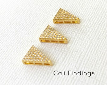 18K Gold Plated Triangle Pendant, Gold Triangle, Pave Triangle, Cz Triangle, Triangle Charm, Triangle Pendant, Triangle Connector [2139]