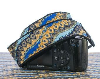 dSLR Camera Strap, Middle Eastern, Indian Inspired, Pocket, Royal, Aqua, Metallic Gold, Camera Neck Strap, Canon or Nikon Strap, 205 w