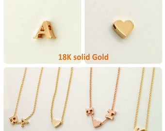 Solid 18K Gold Charm NO CHAIN, Real Gold 18K Initial Letter or Heart 4.5mm tall with 1.25mm hole yellow gold rose gold white gold