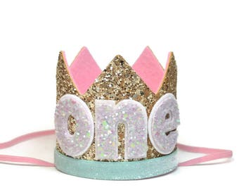 Birthday Hat ||  First Birthday Outfit Girl || First Birthday Cake Smash || Gold Birthday Crown || Glitter Birthday Crown || Smash Cake