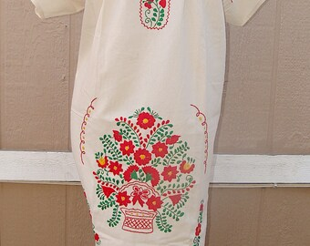 XL Mexican Peasant Red Floral Embroidered Tunic Top Dress