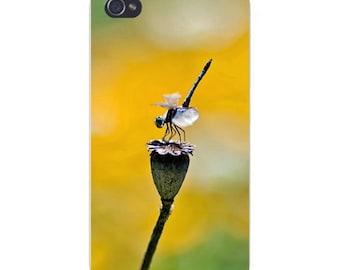 Apple iPhone Custom Case White Plastic Snap on - Dragon Fly Closeup on Flower Bud 8118