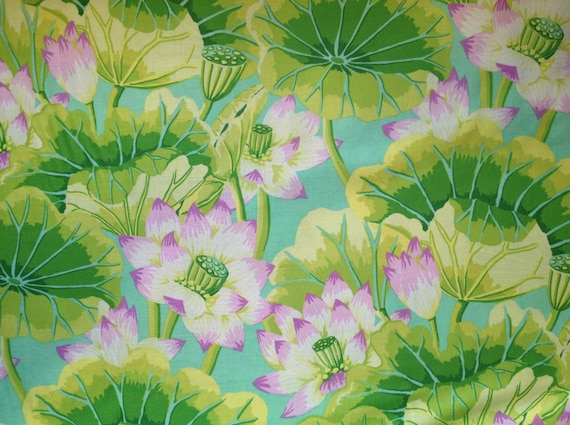 LAKE BLOSSOMS GP93 Green by Kaffe Fassett sold in 1/2 yard increments