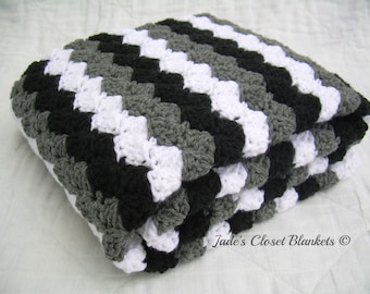 Crochet Baby Blanket, Baby Blanket, Crochet Grey Baby Blanket, Gray Baby Blanket, black, white, and grey, crib size