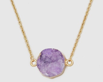 Gold Plated Round Natural Purple Druzy Necklace