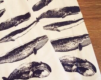Set of 2 WHALES Kitchen Bar Flour Sack Towels - Renewable Natural Cotton