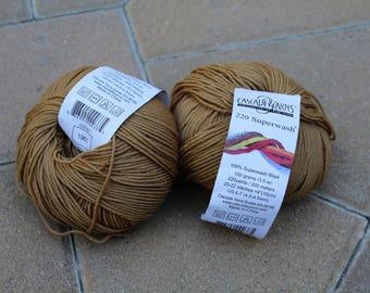 Yarn Destash 2 Skeins Unusued With Tag Gold Color Number 1961 Shade Cascade Yarns 220 Superwash Wool Yarn DK Weight