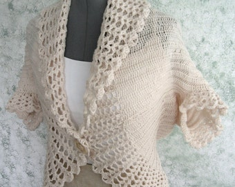 Womens Crochet Shrug Pattern With lace Trim In 3 Sizes Easy To Make Instant Dowload