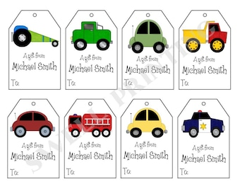 16 Printed Cars gift tags by Swell Printing