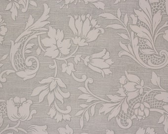 1960's Vintage Wallpaper Textured Embossed White Floral on Gray by the Yard