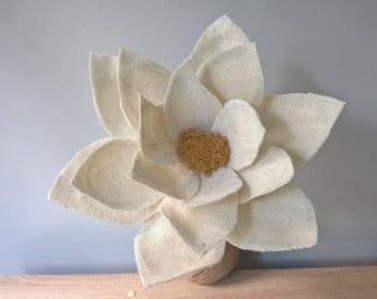 White Burlap Poinsettia Stem - Christmas Decoration - XL SIZE