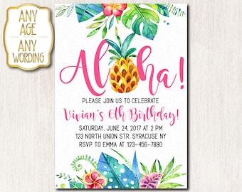 Aloha Birthday invitation, Hawaiian Birthday Invitation, Luau Invitation, Pineapple Birthday Invitation, Any age, DIGITAL FILE - 1676