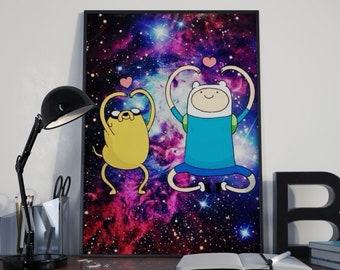 Adventure Time, Finn And Jake, Adventure Time Art, Cartoon Network, Finn The Human, Jake The Dog, Princess Bubblegum, Wall Art, Cartoon