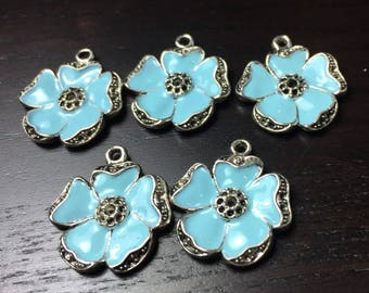 Pastel Blue and Black Enamel Poppy Flower Pendants -- Set of 5