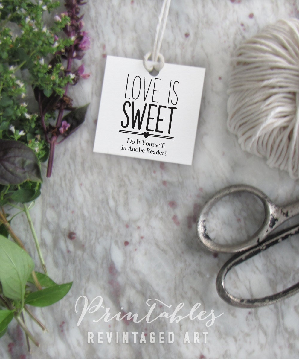 Love is sweet tags printable editable favor tag template this is a digital file solutioingenieria Image collections