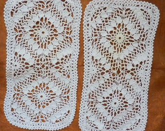 2 white doilies handmade using appliqué
