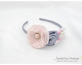Bridal Flowergirl Headband with Handmade Flowers, my Stamen's Accent and Cluster in Silver and Light Pink