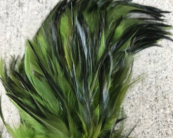 Strung  rooster saddle feathers, length 4-6 inches-color Olive or Army green, tahitian costume, polynesian dance costume, rooster feather