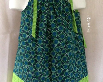 Pillowcase Dress/Tunic/Top in Navy with Lime Green Flowers and Lime Green Accents (008)