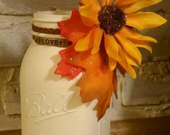 Fall flower mason jar vase