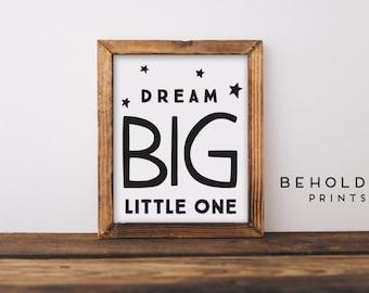 Nursery Wall Art, Dream Big Little One, Nursery Print, Minimalist Nursery, Baby boy nursery, Baby Room Wall Art, Dream Big, Nursery Print